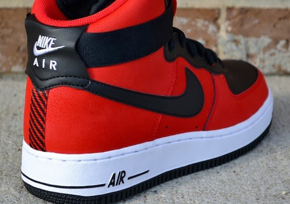 nike air force 1 high red and black