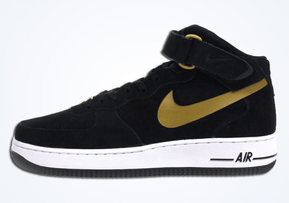 ca1647d0289 Nike Air Force 1 Mid – Black – Metallic Gold – White