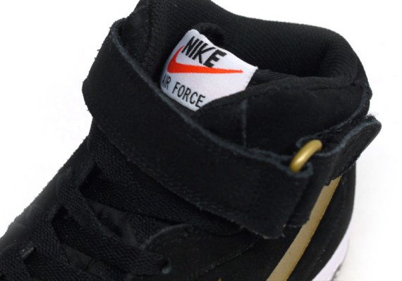 Nike Air Force 1 Mid Black Metallic Gold White