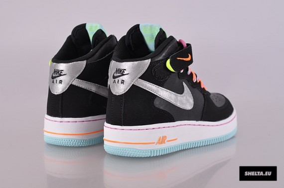 Nike Air Force 1 Mid GS Black Metallic Silver Glacier Ice Red Violet Now Available
