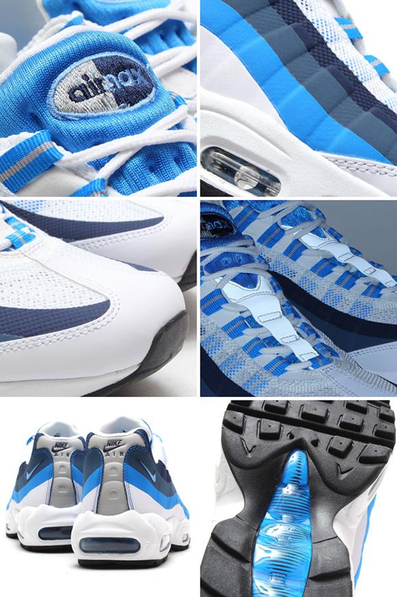 0abeeec2b558 Nike Air Max 95 No Sew White University Blue