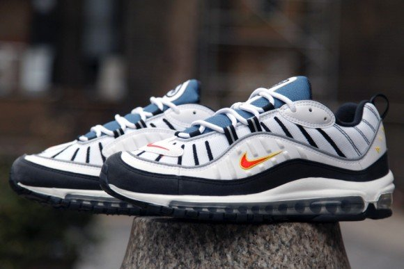 Nike Air Max 98 White Total Orange Metallic Silver Now Available