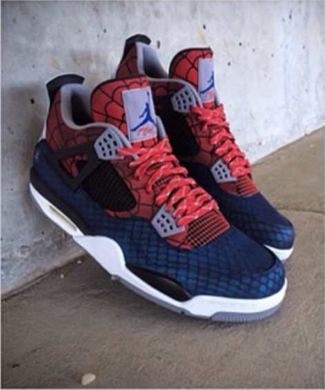 Air Jordan Iv 4 Spider Man Customs By Mache Customs Newest Jordans Out