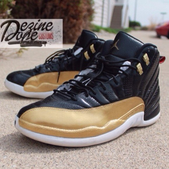 air-jordan-xii-12-black-and-gold-customs-by-dezine-dope-customs