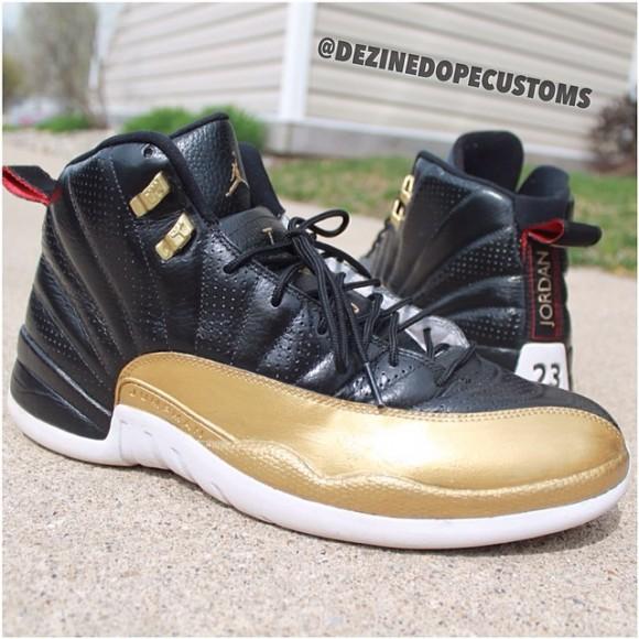 air-jordan-xii-12-black-and-gold-customs-by-dezine-dope-customs