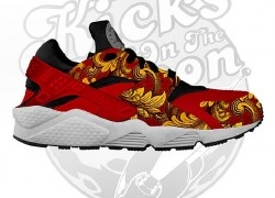 Nike Air Huarache Supreme Inspired Customs by Kicks On The Moon
