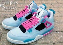 "Air Jordan 4 ""South Beach"" Customs by Ecentrik Artistry"