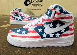 "Nike Air Force 1 Mid ""American Flag"" Customs by Ecentrik Artistry"