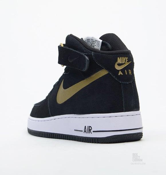 hot sales 017e0 9ecaf Nike Air Force 1 Mid Black Metallic Gold