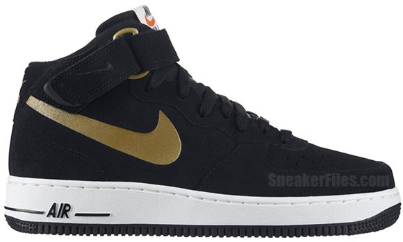 black and metallic gold air forces Air Force 1 High 07 Nike ... 4988aab01
