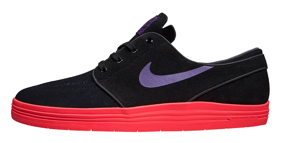 Nike SB Stefan Janoski Lunar Hyper Grape Sneakers (Black/Hyper Grape-Hyper Punch)