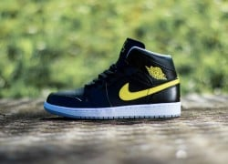 Air Jordan 1 Mid 'Black/Vibrant Yellow-Wolf Grey'