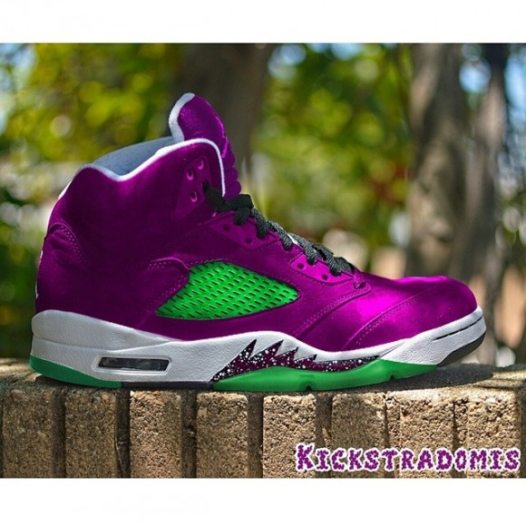 new style 15ee9 1e85a air-jordan-5-purple-urkel-customs-by-kickstradomis