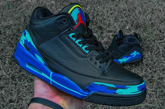 Aqua Air Jordan 3 Custom by Raleigh Restorations