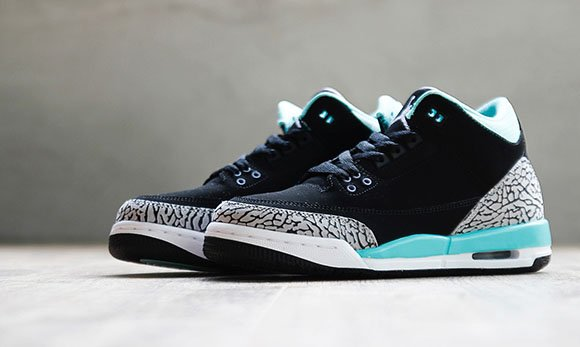 Air Jordan 3 GS Black/Iron Purple-Mint Green-Cement Grey