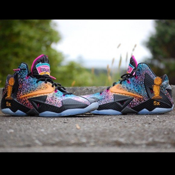 cheap Nike LeBron 11 Celebration In San Antonio Customs by Just Win Customs 19af75dc14