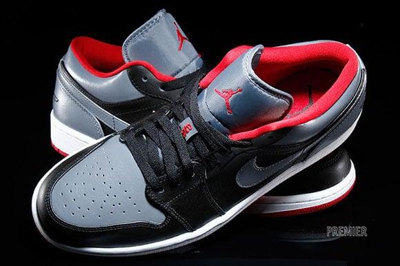 Air Jordan 1 Low Black/Cool Grey-Gym Red