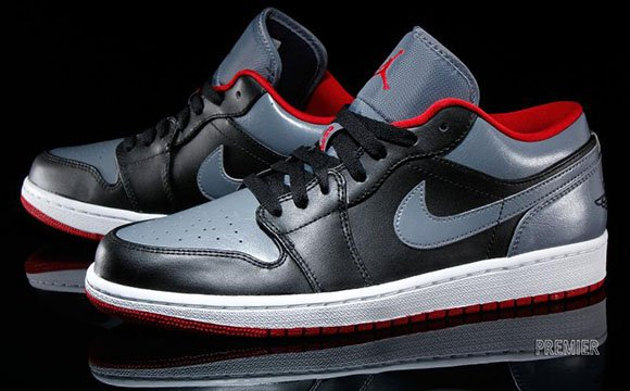 Air Jordan 1 Low Black/Cool Grey-Gym Red