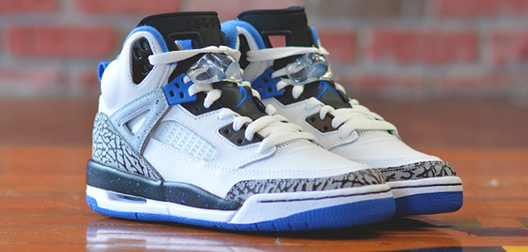 new arrival 0758d ebec2 Jordan Spizike GS White Sport Blue-Black-Wolf Grey