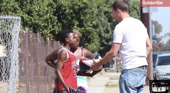 Giving Back: Man Gives away Air Jordans on the Streets of Compton