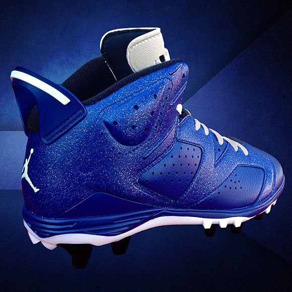 Michael Crabtree Wears Dallas Blue Air Jordan 6 Custom Cleats