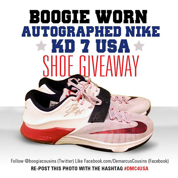 Win DeMarcus Cousins Autographed  USA  Nike KD 7  5244739ad