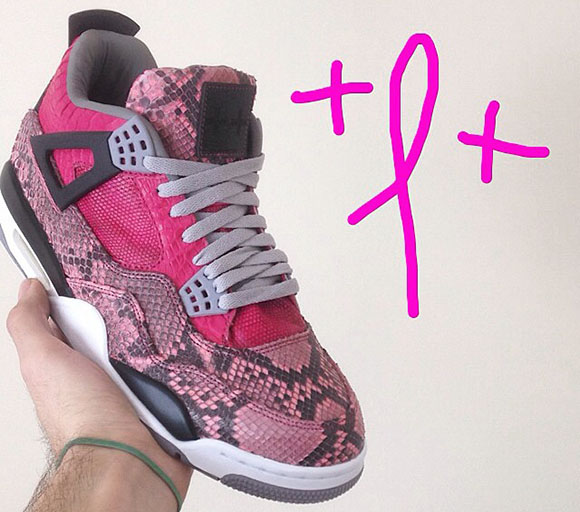 Air Jordan 4 Pink Snakeskin Breast Cancer Awareness Custom by JBF
