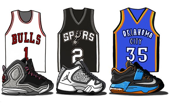 Illustrated Sneakers from the 2014-15 NBA Season