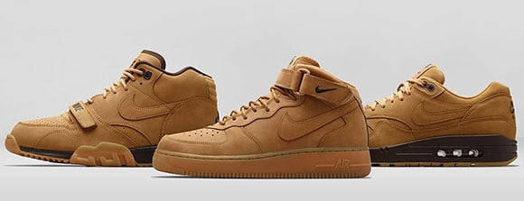 Nike Air Force 1, Air Max 1, Air Trainer 1 Flax Collection Wheat