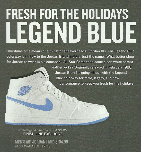 Air Jordan 1 Mid Legend Blue is a Finish Line Exclusive Release