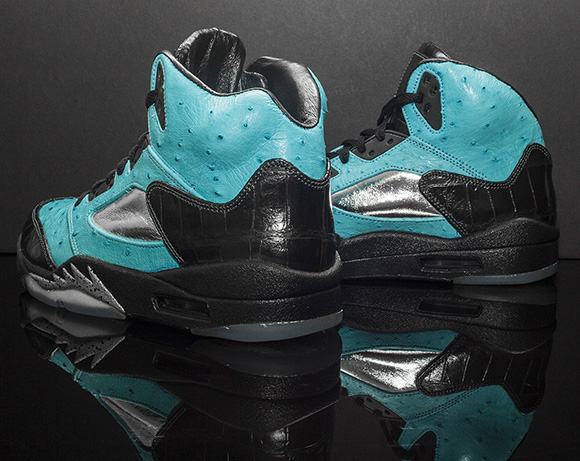 Air Jordan 5 Tiffany Ostrich Custom by JBF