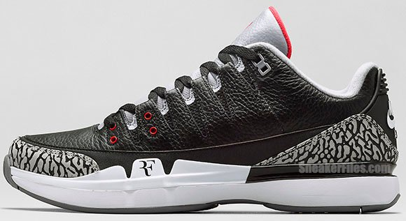 e64c4d988b53 Nike Zoom Vapor Air Jordan 3  Black Cement  - Official Images ...
