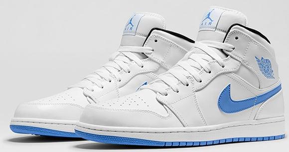 air jordan mid 1 white and blue