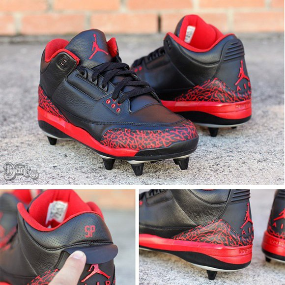 Air Jordan 3 Cleats Black Red Custom Spencer Paysinger by Dank