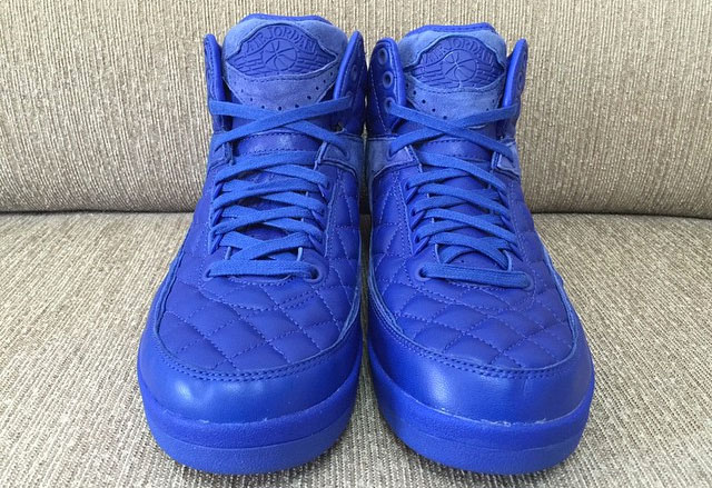 Just Don x Air Jordan 2 Blue Quilted Leather 2015 - Detailed Look ... c8a887023e