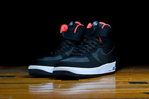 nike air force 1 high black/bright crimson/white