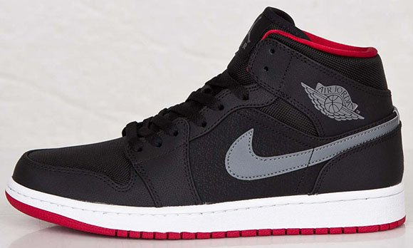 Air Jordan 1 Mid Black Cool Grey Gym Red