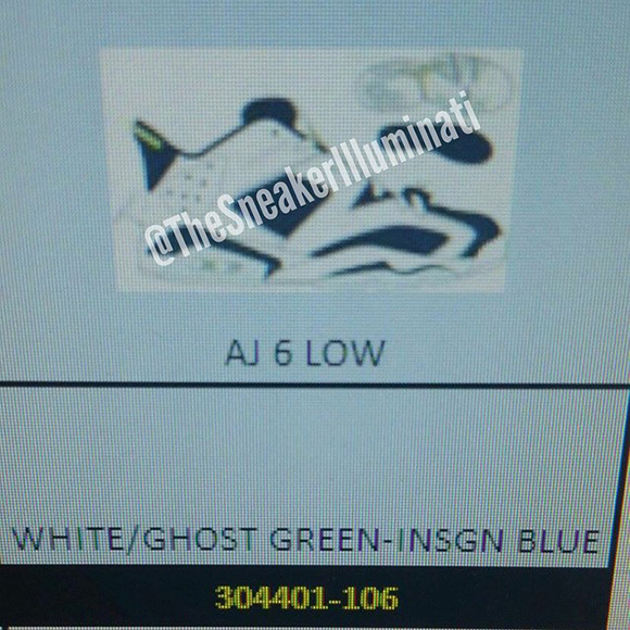 Air Jordan 6 Low White Ghost Green Insigne Blue