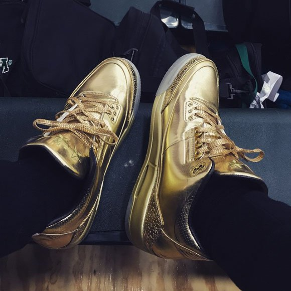 Kyrie Irving Wears All Gold Air Jordan 3