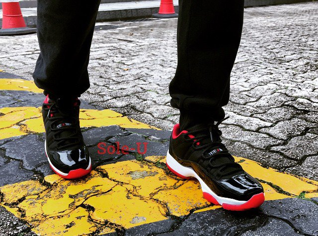 On Foot Air Jordan 11 Low Bred Sneakerfiles