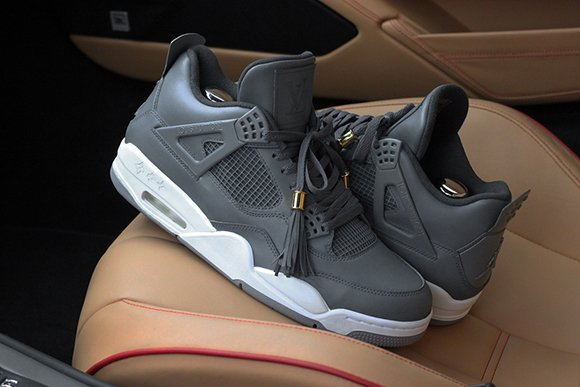Air Jordan 4 Custom Louis Vuitton Don Anthracite Dank