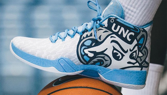 There is a White Air Jordan XX9 UNC Tarheels PE
