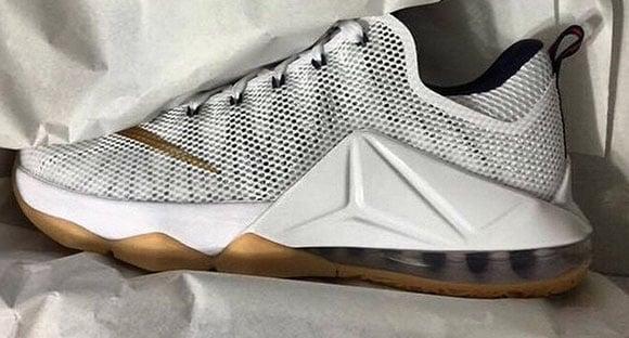 Nike LeBron 12 Low USA White Metallic Gold