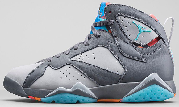 Air Jordan 7 Bobcats Barcelona Days Grey Black Blue Shoes
