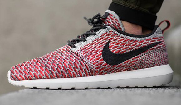 7c3af2f175ad Nike Flyknit Roshe Run Bright Crimson   Anthracite