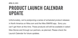 NikeStore Delays All Releases For This Weekend