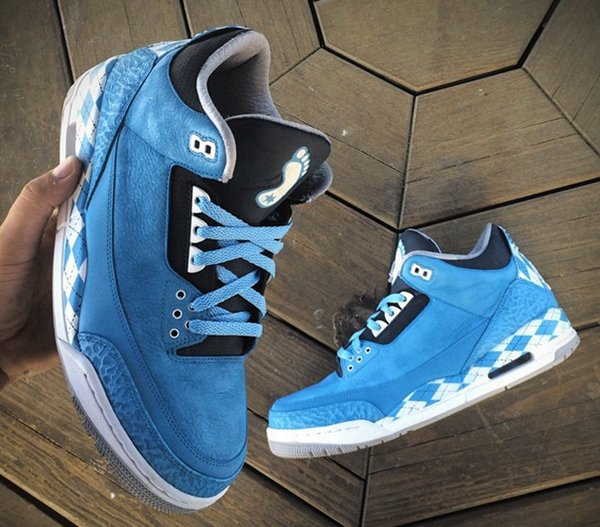 Air Jordan 3 'Argyle UNC' Custom