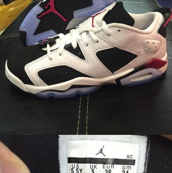 Air Jordan 6 Low GS White Black Sport Fuchsia