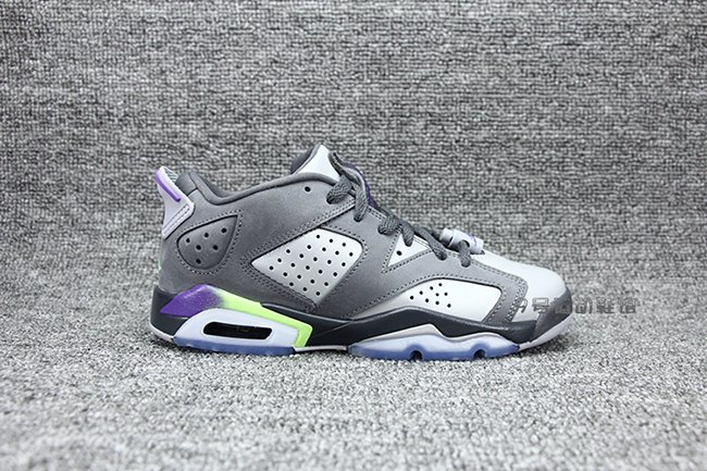 5d8fecdd10f80 Air Jordan 6 Low GS Dark Grey Ultraviolet Ghost Green | SneakerFiles