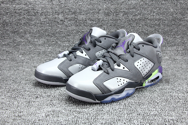 e0aecd0ea8c7a6 Air Jordan 6 Low GS Dark Grey Ultraviolet Ghost Green